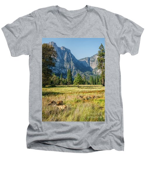 Yosemite Valley At Yosemite National Park Men's V-Neck T-Shirt