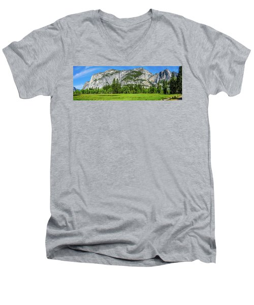 Yosemite West Valley Meadow Panorama #2 Men's V-Neck T-Shirt