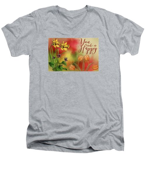 You Make Me Happy Men's V-Neck T-Shirt by Diana Boyd