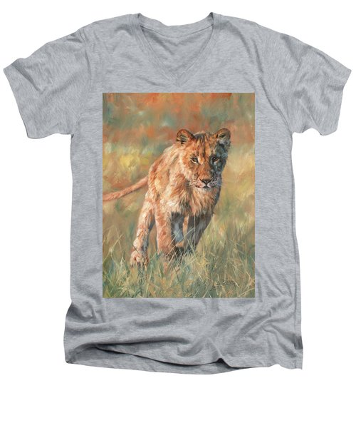 Men's V-Neck T-Shirt featuring the painting Youn Lion by David Stribbling