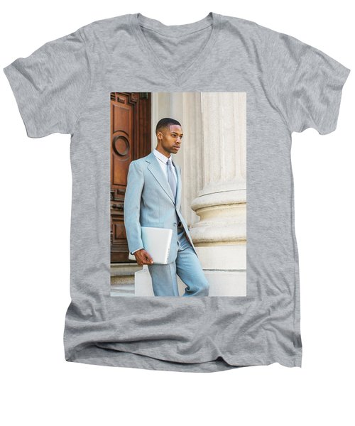 Young African American Businessman Working In New York Men's V-Neck T-Shirt
