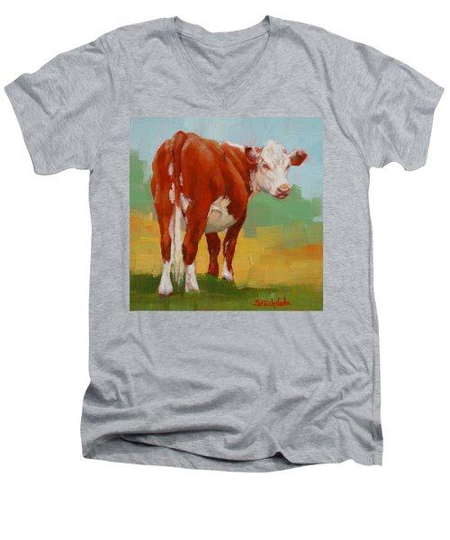 Young Cow Men's V-Neck T-Shirt by Margaret Stockdale