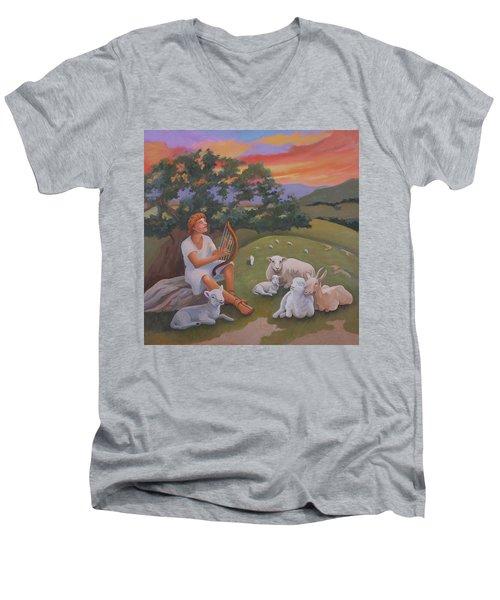 Young David As A Shepherd Men's V-Neck T-Shirt