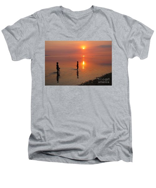 Men's V-Neck T-Shirt featuring the photograph Young Fishermen At Sunset by Christopher Shellhammer