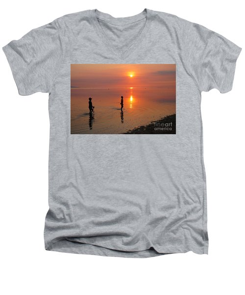 Young Fishermen At Sunset Men's V-Neck T-Shirt