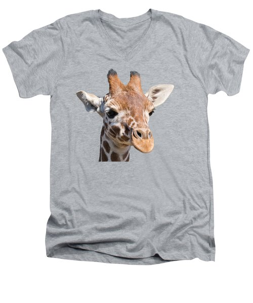Young Giraffe  Men's V-Neck T-Shirt