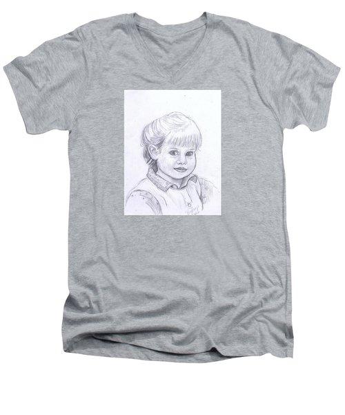 Young Girl Men's V-Neck T-Shirt by Francine Heykoop