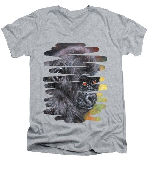 Young Gorilla Portrait Men's V-Neck T-Shirt