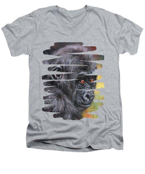 Young Gorilla Portrait Men's V-Neck T-Shirt