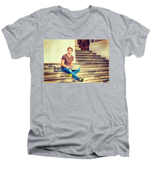 Young Man Working Outside In New York Men's V-Neck T-Shirt