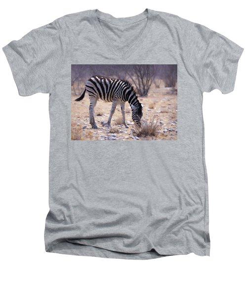 Men's V-Neck T-Shirt featuring the digital art Young Plains Zebra by Ernie Echols