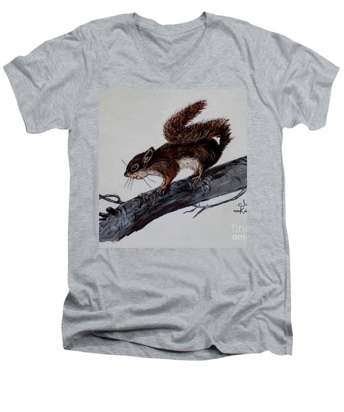Men's V-Neck T-Shirt featuring the painting Young Squirrel by Judy Kirouac