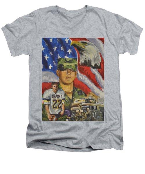 Young Warrior Men's V-Neck T-Shirt by Ken Pridgeon