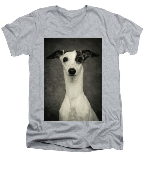 Young Whippet In Black And White Men's V-Neck T-Shirt by Greg and Chrystal Mimbs