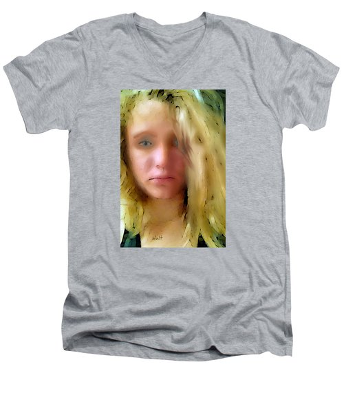 Men's V-Neck T-Shirt featuring the digital art Young Woman by Walter Chamberlain