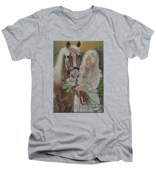Young Woman With Horse Men's V-Neck T-Shirt