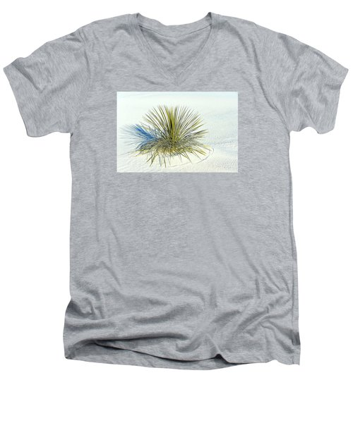 Men's V-Neck T-Shirt featuring the photograph Yucca In White Sand by Jerry Cahill