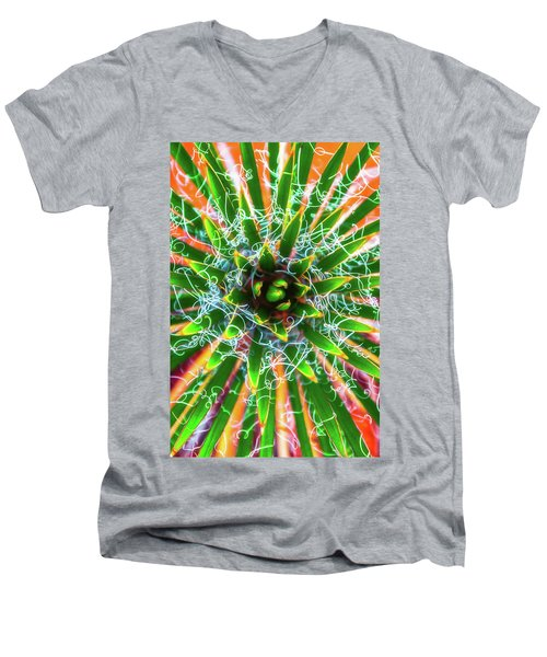 Men's V-Neck T-Shirt featuring the photograph Yucca Sunrise by Darren White