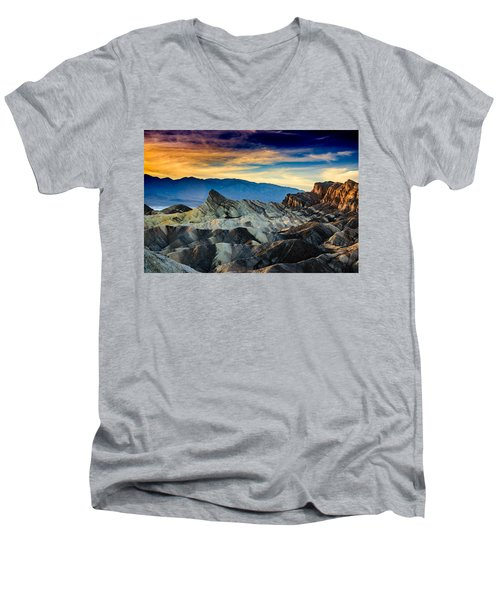 Men's V-Neck T-Shirt featuring the photograph Zabriskie Point At Sundown by Janis Knight