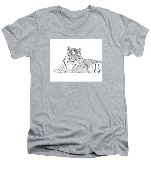Zarina A Siberian Tiger Men's V-Neck T-Shirt by Patricia Hiltz