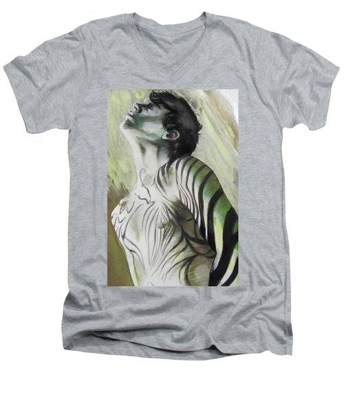 Zebra Boy In Spring Men's V-Neck T-Shirt