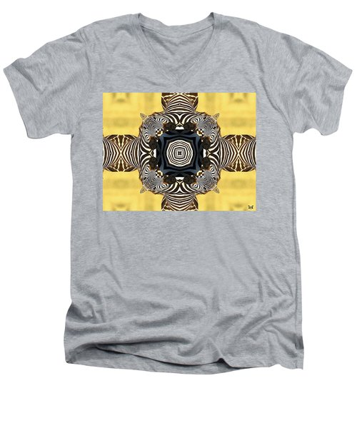 Zebra Cross Men's V-Neck T-Shirt by Maria Watt