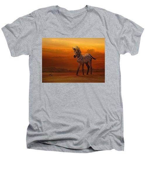 Zebra Fawn  Men's V-Neck T-Shirt