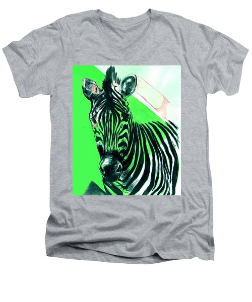 Men's V-Neck T-Shirt featuring the painting Zebra In Green by Rene Capone