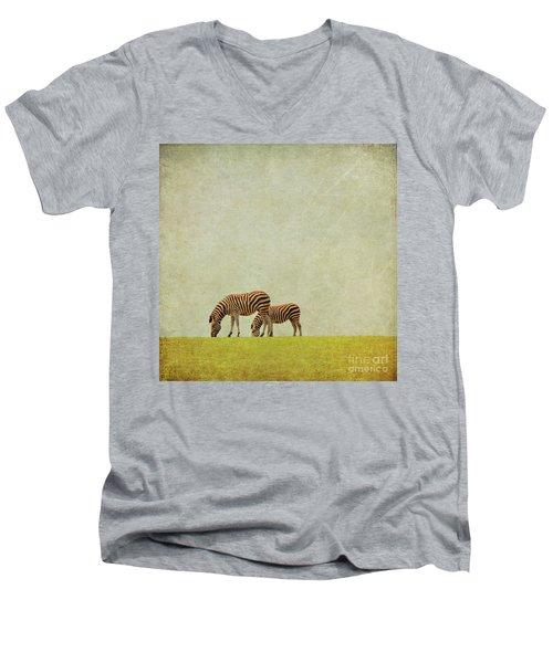 Zebra Men's V-Neck T-Shirt by Lyn Randle