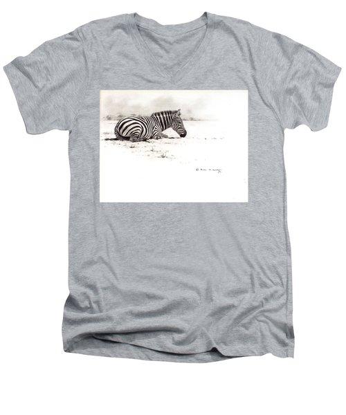 Zebra Sketch Men's V-Neck T-Shirt
