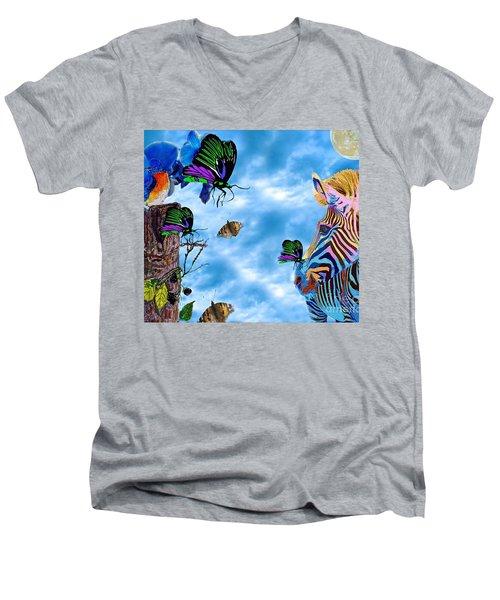 Zebras Birds And Butterflies Good Morning My Friends Men's V-Neck T-Shirt