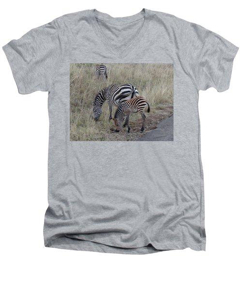 Zebras In Kenya 1 Men's V-Neck T-Shirt by Exploramum Exploramum