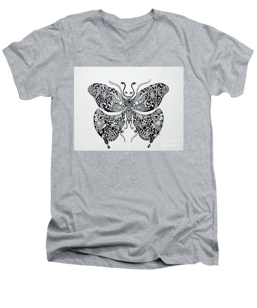 Zen Butterfly Men's V-Neck T-Shirt by Tamyra Crossley