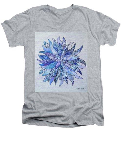 Men's V-Neck T-Shirt featuring the drawing Zen Flower Mandala by Megan Walsh
