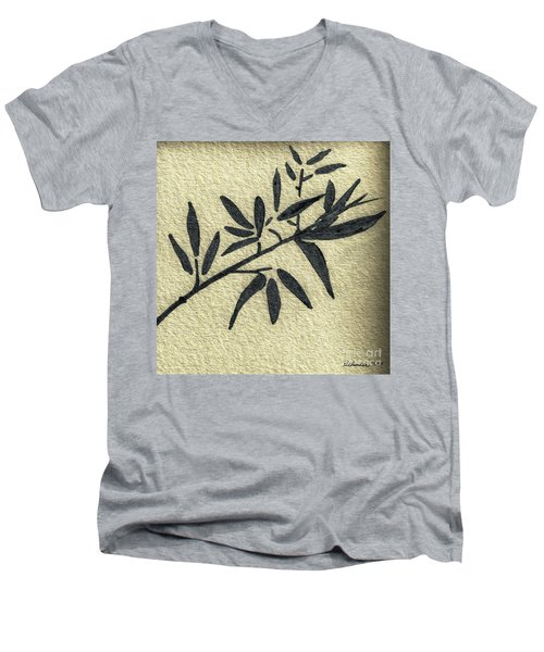 Men's V-Neck T-Shirt featuring the mixed media Zen Sumi Antique Botanical 4a Ink On Fine Art Watercolor Paper By Ricardos by Ricardos Creations