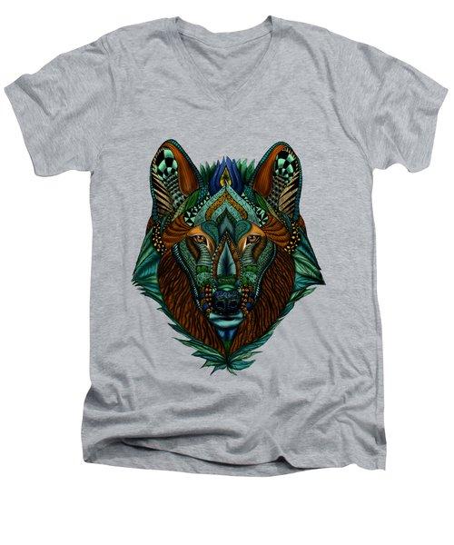 Zentangle Inspired Art- Wolf Colored Men's V-Neck T-Shirt