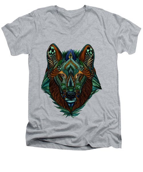 Zentangle Inspired Art- Wolf Colored Men's V-Neck T-Shirt