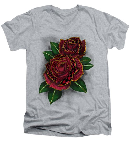 Zentangle Tattoo Rose Colored Men's V-Neck T-Shirt