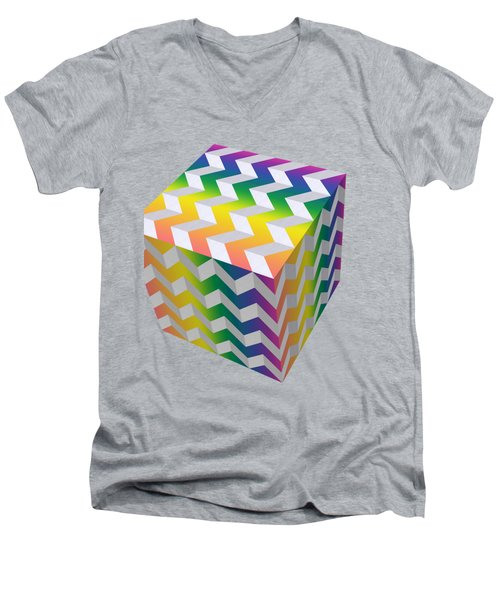 Men's V-Neck T-Shirt featuring the digital art Zig Zag Cube by Chuck Staley