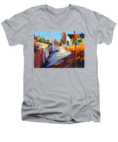 Men's V-Neck T-Shirt featuring the painting Zig Zag Shadows by Rae Andrews