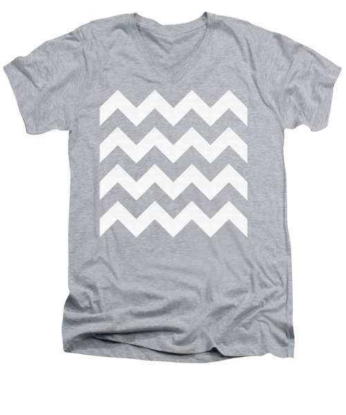 Men's V-Neck T-Shirt featuring the digital art Zig Zag - White - Transparent by Chuck Staley