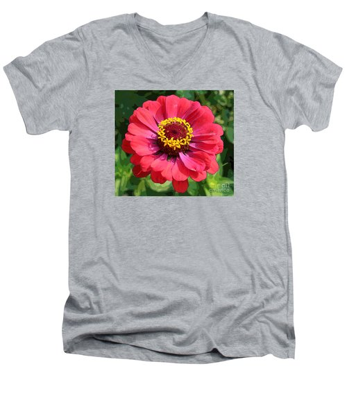 Zinnia Men's V-Neck T-Shirt by Jeanette French