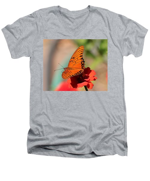 Zinnia With Butterfly 2669 Men's V-Neck T-Shirt