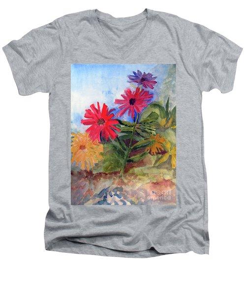 Zinnias In The Garden Men's V-Neck T-Shirt