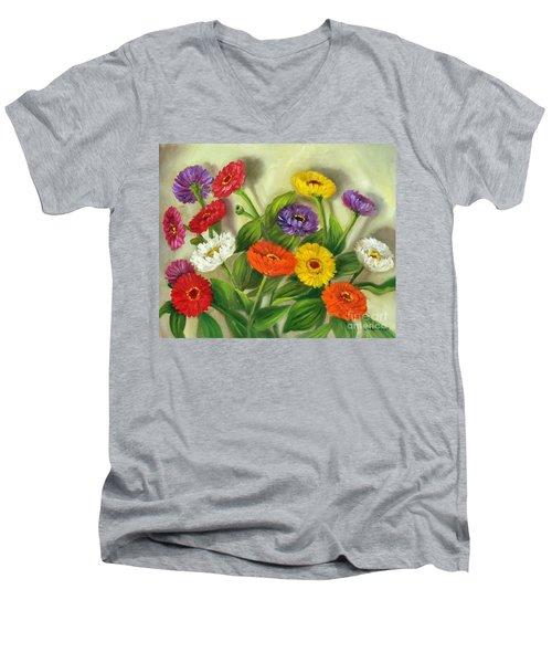 Men's V-Neck T-Shirt featuring the painting Zinnias by Randol Burns
