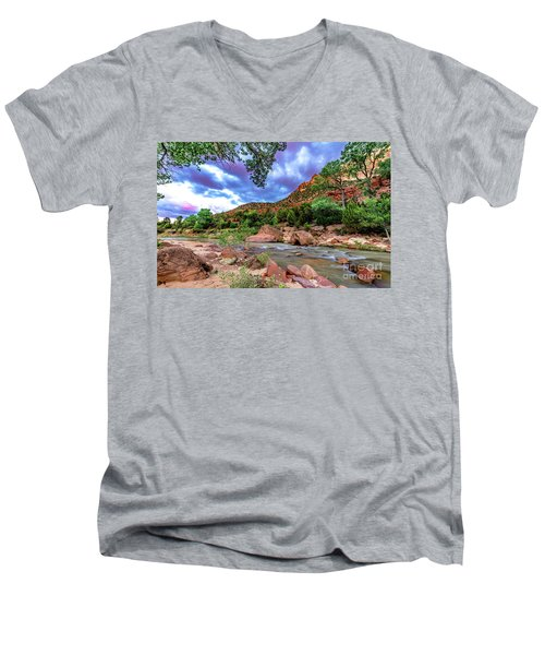 Zion At Daybreak Men's V-Neck T-Shirt