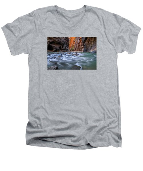 Men's V-Neck T-Shirt featuring the photograph Zion Narrows by Wesley Aston