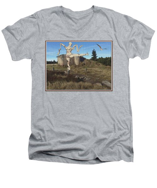 Zombie Near The Ruins Men's V-Neck T-Shirt