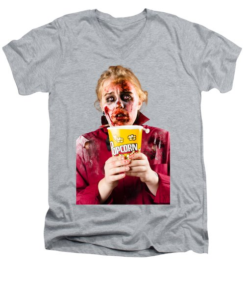 Zombie Woman Watching Scary Movie With Popcorn Men's V-Neck T-Shirt by Jorgo Photography - Wall Art Gallery