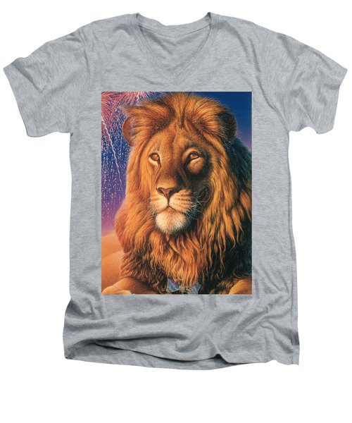 Zoofari Poster The Lion Men's V-Neck T-Shirt
